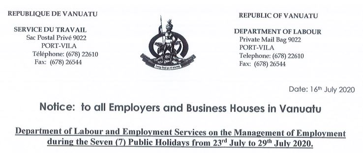 NOTICE: TO ALL BUSINESS HOUSES-PUBLIC HOLIDAY DIRECTIVE